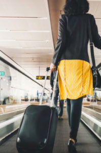 woman traveling in the airport