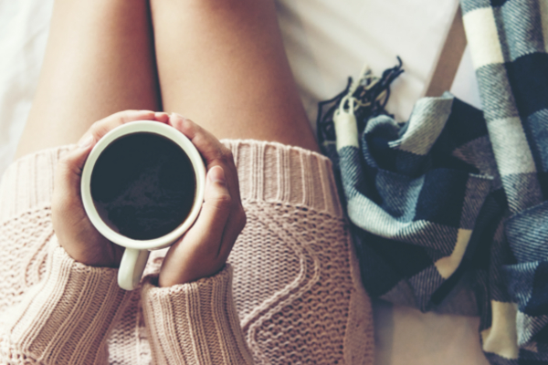relaxing with a cup of coffee