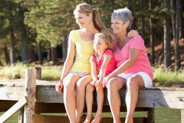 Mother, daughter and grandmother sitting by lake